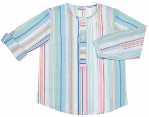 camisa rayas niño azul y rosa de Ancar