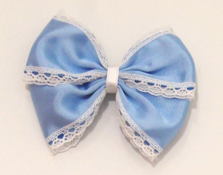 lazo mariposa grosgrain puntilla azul