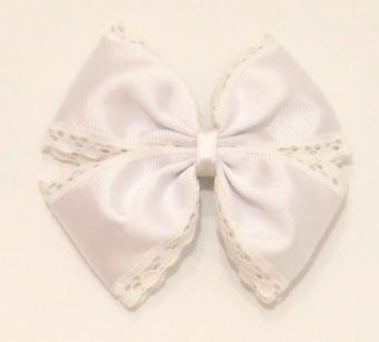 lazo mariposa grosgrain puntilla blanco