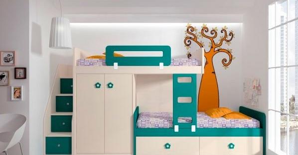 Composición de literas para niños Turquesa