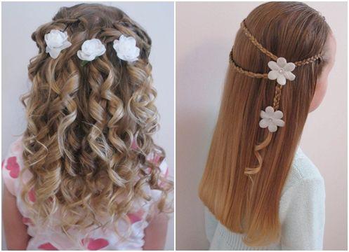 Peinados con flores para niña de Comunión.